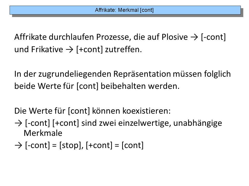 Affrikate durchlaufen Prozesse, die auf Plosive → [-cont]